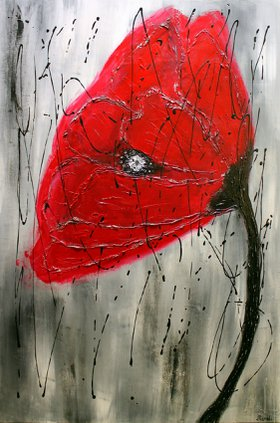 Contemporary Red Poppy Abstract by Victoria Manoli
