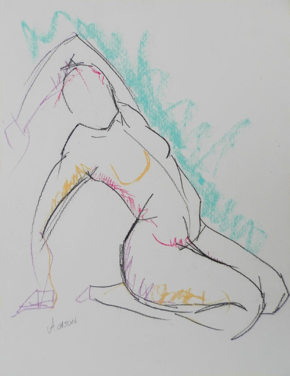Female Nude Original Charcoal Pastel Figure Study Life Drawing Gesture - Image 0
