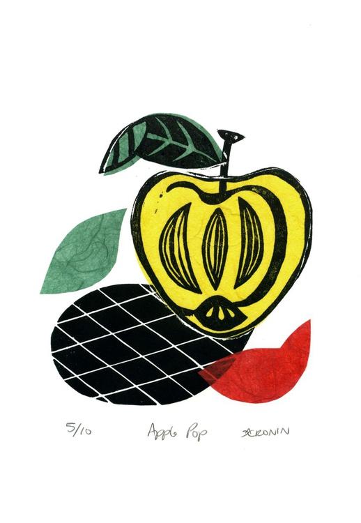 Apple Pop Linocut Print & Chine-collé 5 of 10 (apple design 2) - Image 0
