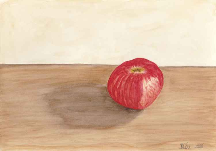 Lonely Apple Original Watercolor Art -