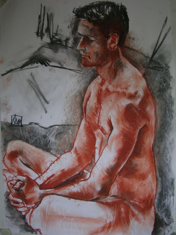Male nude in red chalk - Image 0