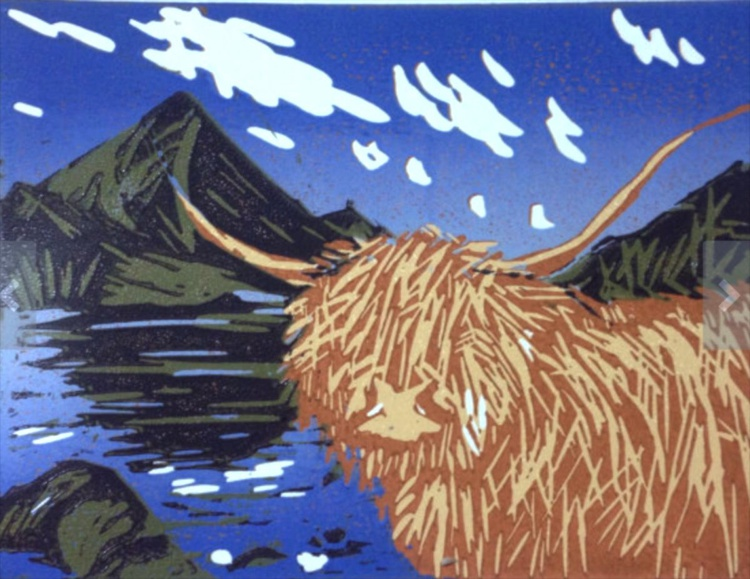 Highland Coo (Highland Cow by a Scottish Loch), handmade reduction linocut, 2015 - Image 0