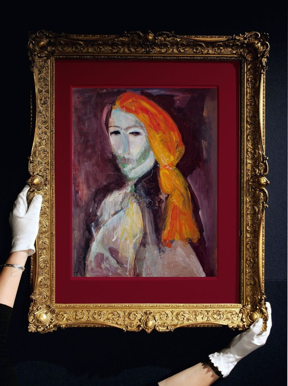 """Man with orange hair (Post Picasso comment, from the """"knights and noblemen"""" cycle) - Image 0"""