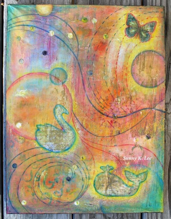 Dream Land (encaustic mixed media) - Image 0