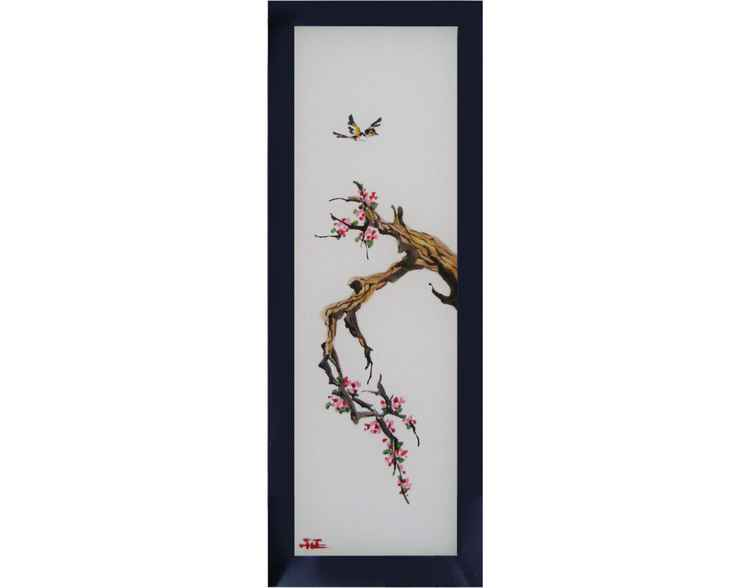 "Painting on silk ""Meeting of spring"" -"