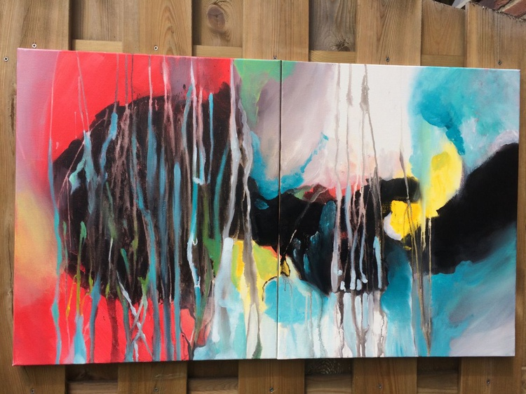 """New Beginning "" ,  Large Abstract Acrylic Painting - 2 Panels each panel 50x60cm - Image 0"