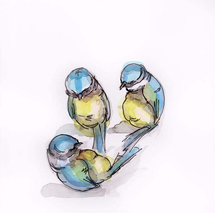 Three blue tits - Image 0