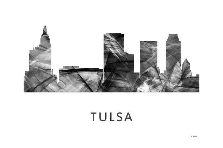Tulsa Oklahoma Skyline WB BW -