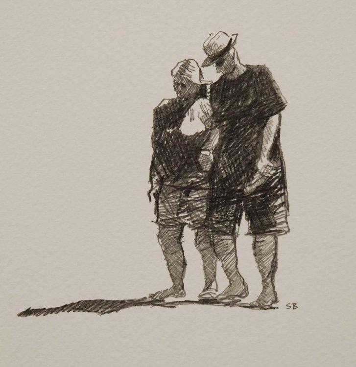 Beach People Pencil Drawing By Stephen Brook