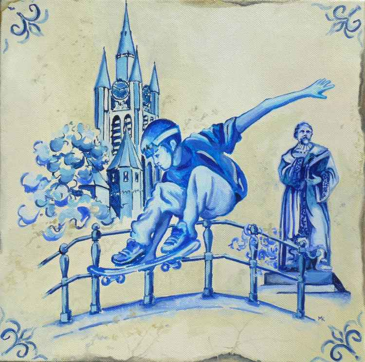 Delft Blue Hugo Grotius Skater and Church -