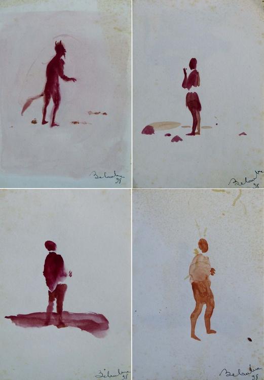 Minimalist Figures - Quadriptych 18x12 cm - Image 0