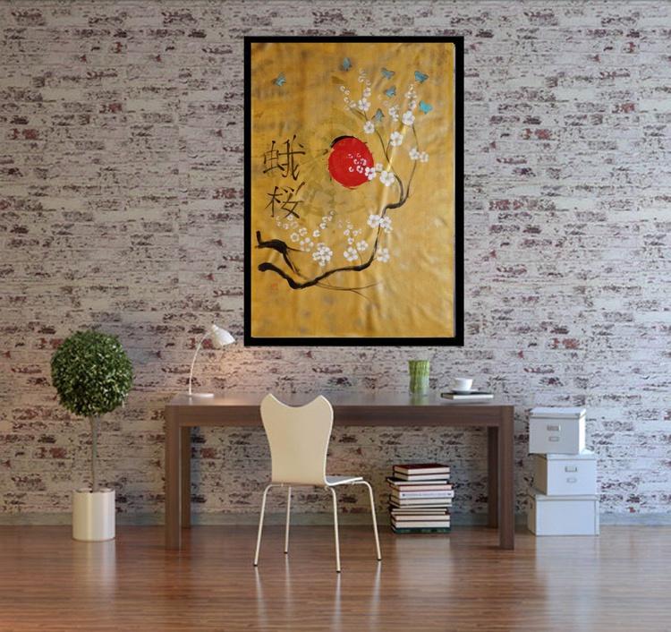 Gold Sakura butterfly Hieroglyph painting 110×160 cm acrylic on unstretched canvas J79 art original artwork in japanese style by artist Ksavera - Image 0