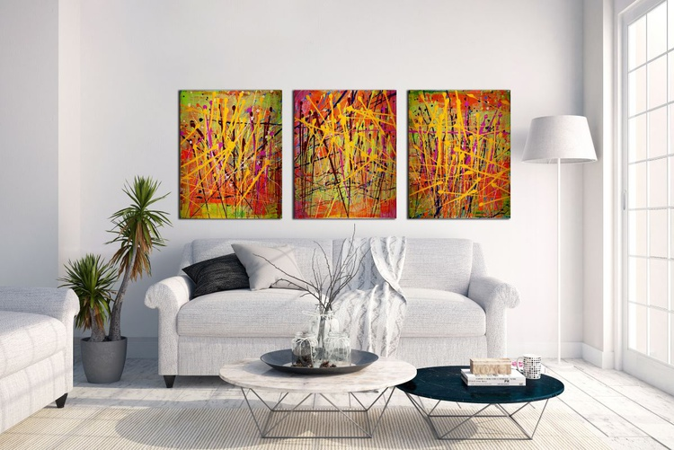Interrupted abstract landscape II (Green path)- Tryptic - Image 0