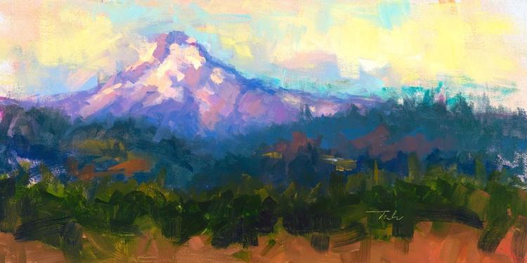 Sunrise Advancing - plein air Mount Hood - Image 0