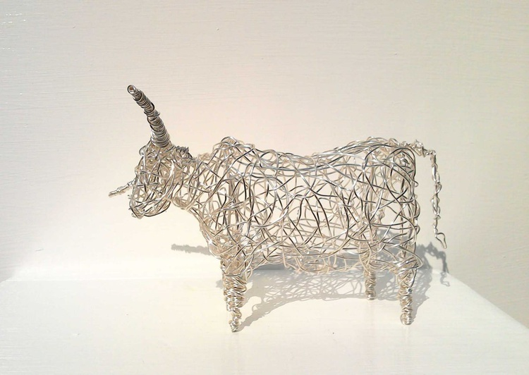 Wirework Cow in Silver. - Image 0