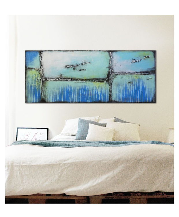 Abstract Painting - Turquoise Lots - 401 - Image 0