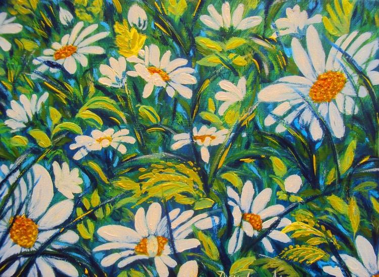 Daisy Original Oil Painting Impresionisam Floral Art - Image 0