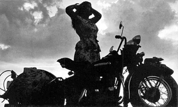 Celia's Harley Silhouette, c. 1947 • Samuel Gutierrez, Foto Estudio Paris, Jalisco, Mexico • Silver Rag Print #1 -