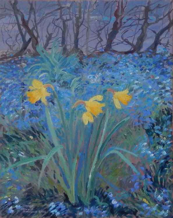 Daffodils And A Winter Hedge -