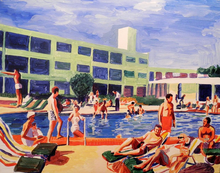 colourful pool scene with bathers - Image 0
