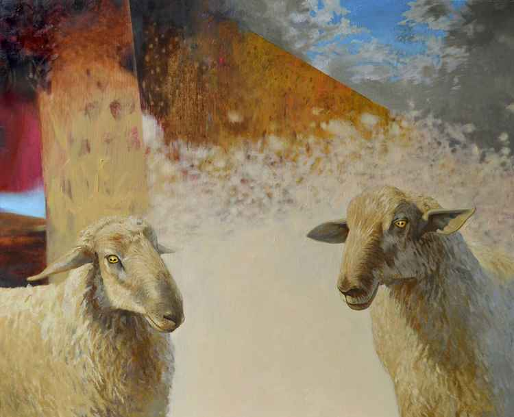 Two, original painting with sheeps, 110x90cm -