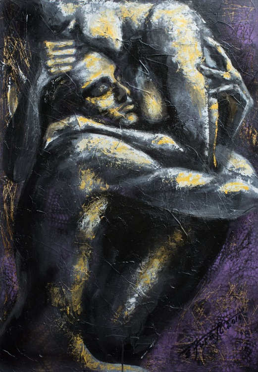 """""""I hold you in my arms"""", original mixed media painting, 70x100x4cm, ready to hang - Image 0"""