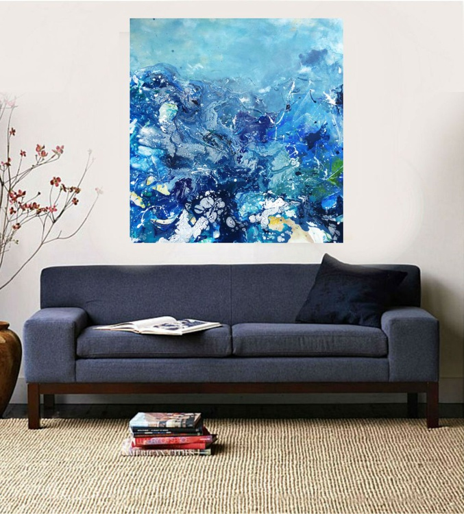 Surfing, Large Modern Painting, 95x90 cm - Image 0