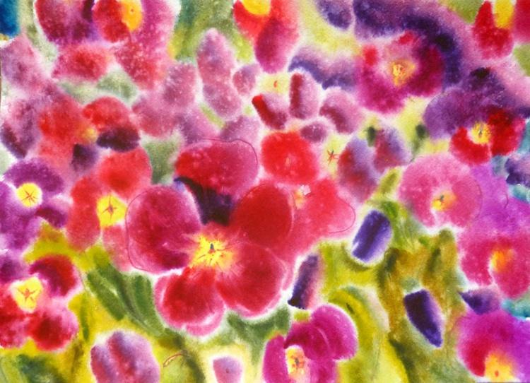 Pansies, watercolor 42x30 cm - Image 0