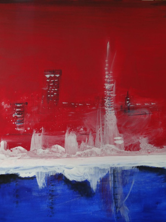 City - large canvas acrylic painting - Image 0