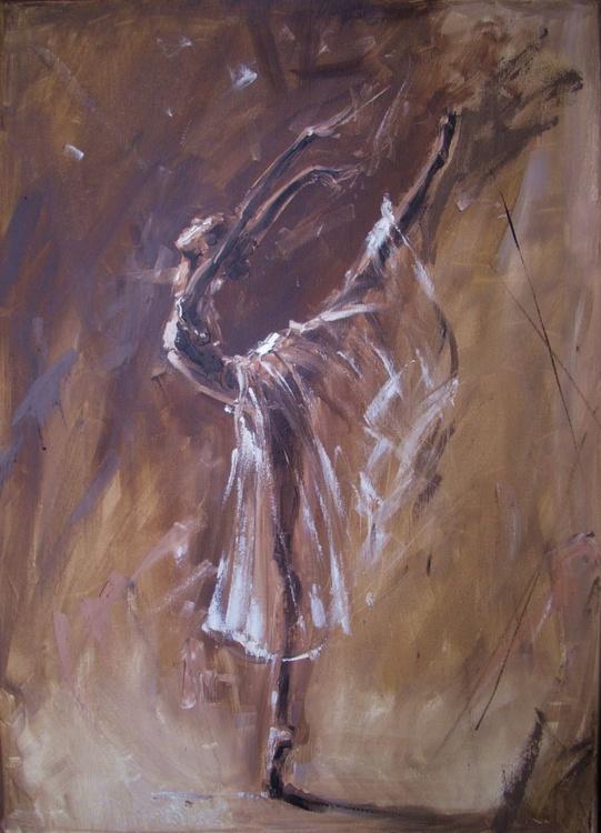 """ MAGIC OF BALLET ""- brown lihgt  ORIGINAL OIL PAINTING, GIFT, CHRISTMAS - Image 0"