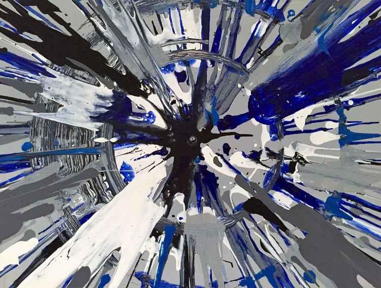 Blue Spin Art #1 -