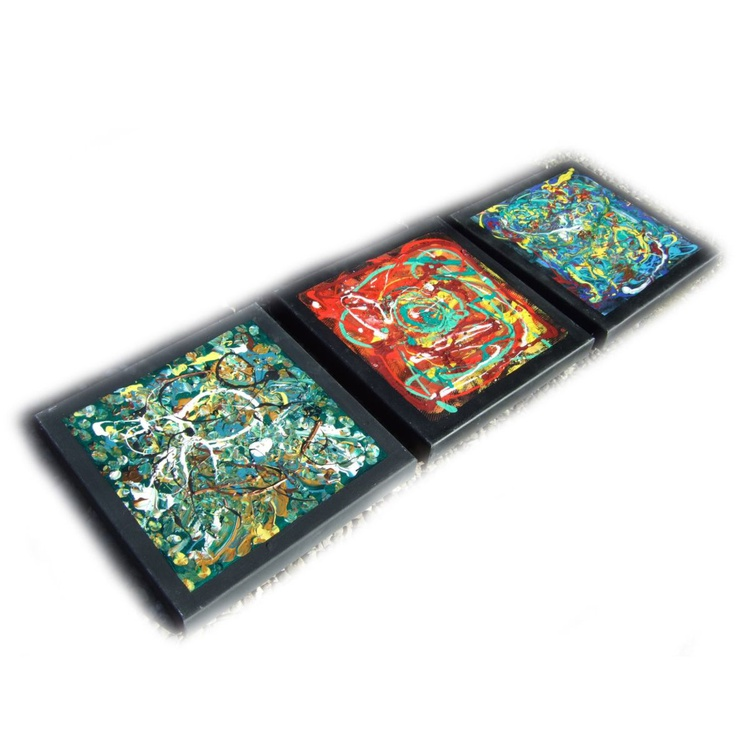 POLLOCK paintings original abstract art 35x110x4 cm stretched canvas acrylic art cubist orfism constructivism wall art by artist Ksavera - Image 0