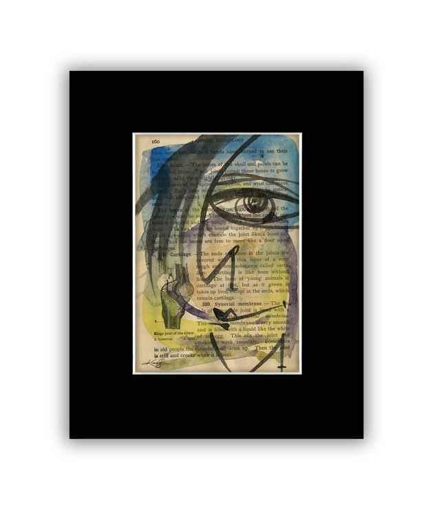 """I See 33"" on Antique Book Page - Abstract Watercolor Painting -"