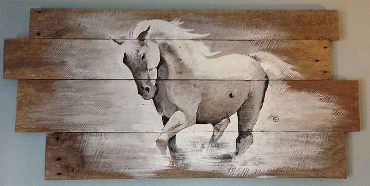 White Horse on 100+ Year Old Barn Wood -