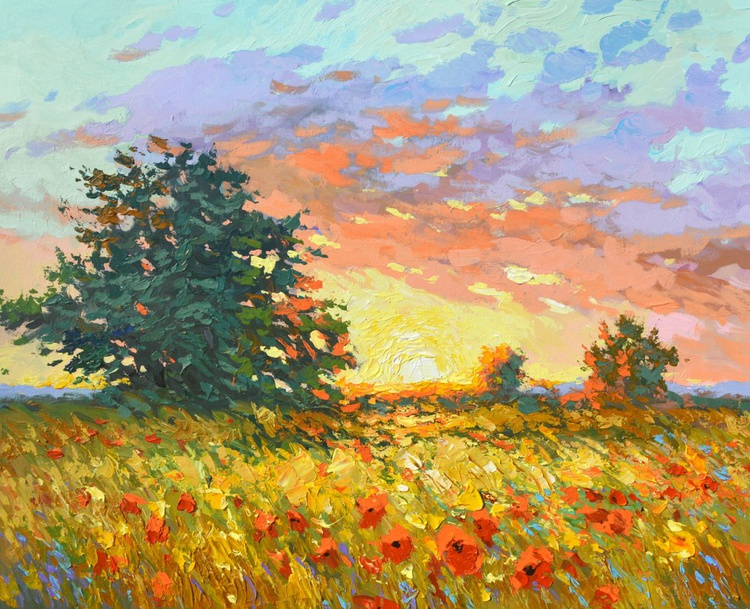 Warm sunset by Dmitry Spiros, size 74 x 90 cm, (29 x 36 in) - Image 0