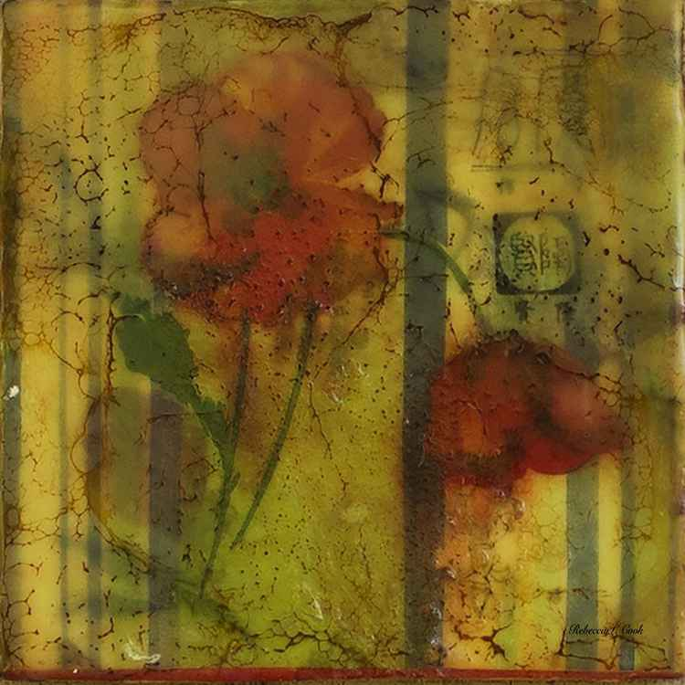 VINTAGE POPPY ENCAUSTIC