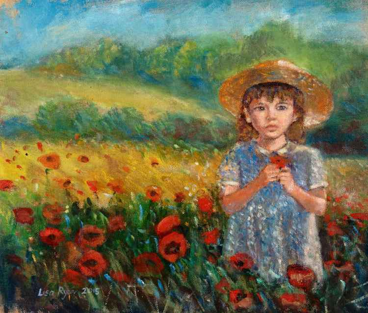 Girl standing in poppy field -