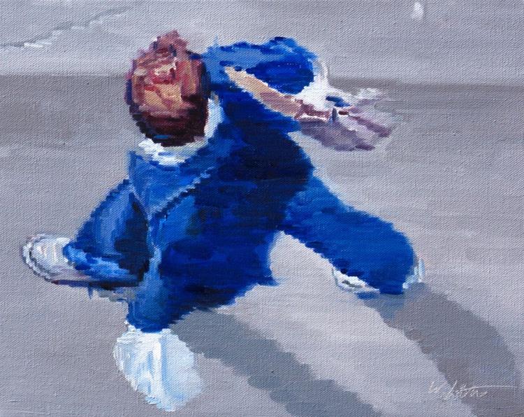 Man in Blue Walking in Paris Number Two - Image 0