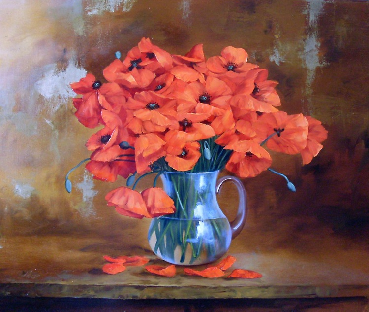 Poppies, Oil on canvas - Image 0
