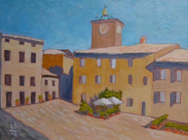 Early Morning in Piazza Duomo in Orvieto Italy Italian Plein Air Painting - Image 0