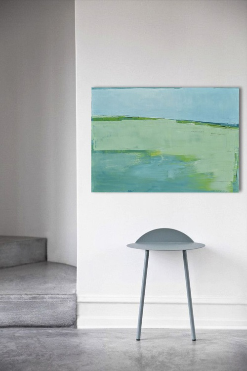 """Abstract painting """"Lake 52"""". 100% Oil painting on cotton canvas. Unique impasto texture. 100/70 cm - Image 0"""