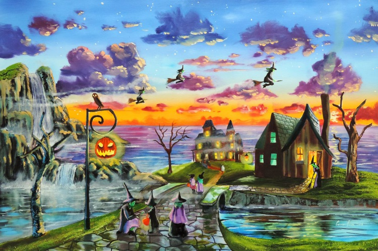 Halloween painting Witches trick or treat original oil painting - Image 0
