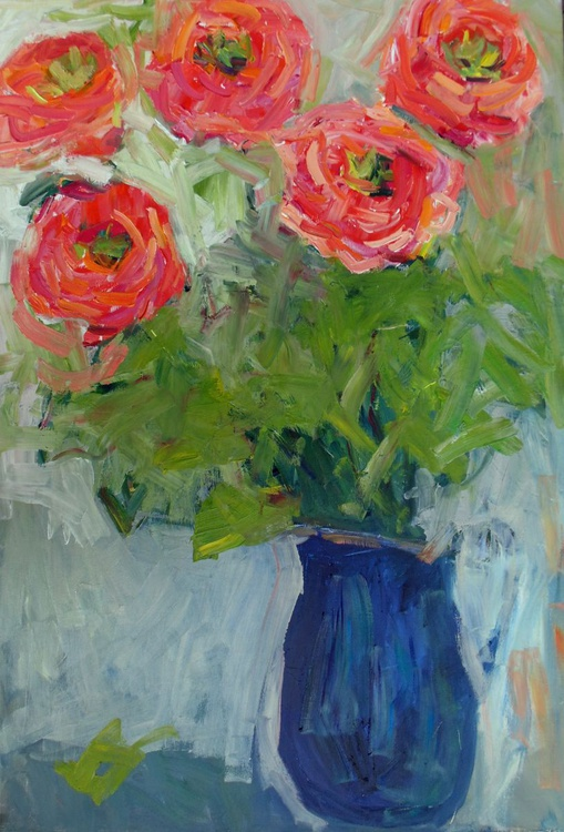Coral pink roses in the blue jug. - Image 0