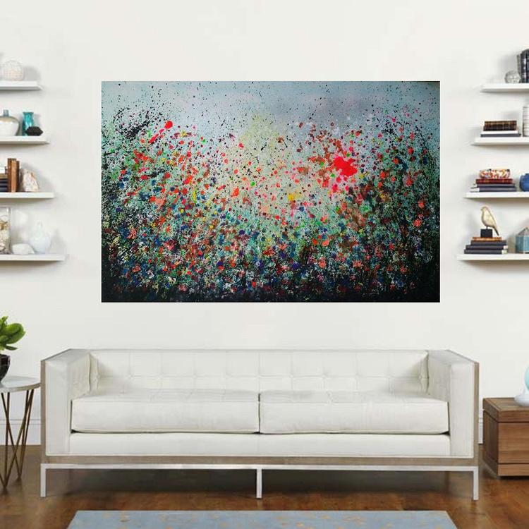 "47''x31""( 120x80cm),Ko Samet, Island, extra large abstract painting, urban art, large canvas art,  green shades - Image 0"