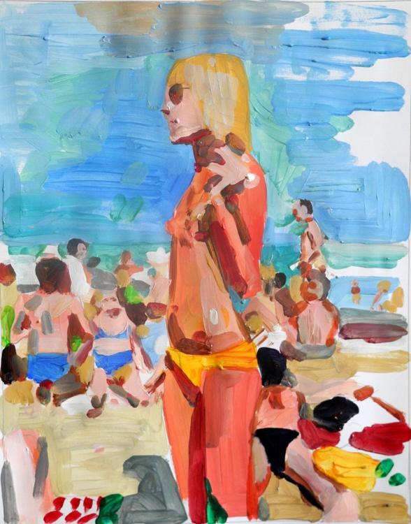 Beach scene -woman smoking - Image 0