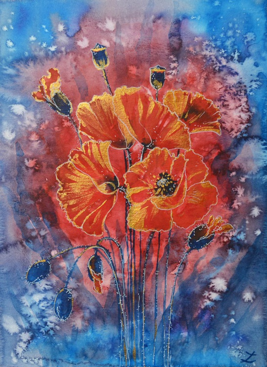 Red Poppies in Gold - Image 0