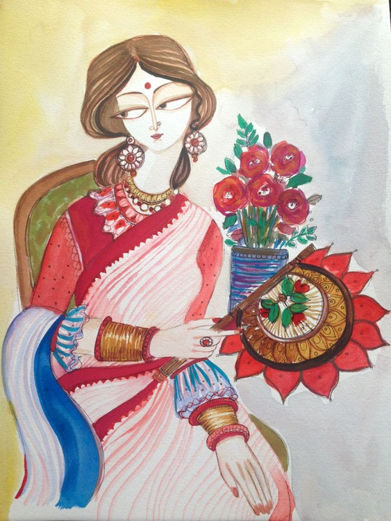 Lady with her Handfan - Image 0