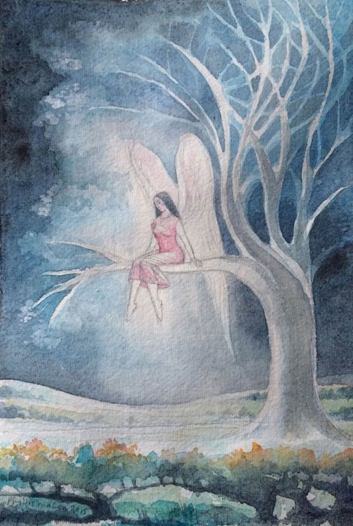 Pensive angel in a tree at night - Image 0