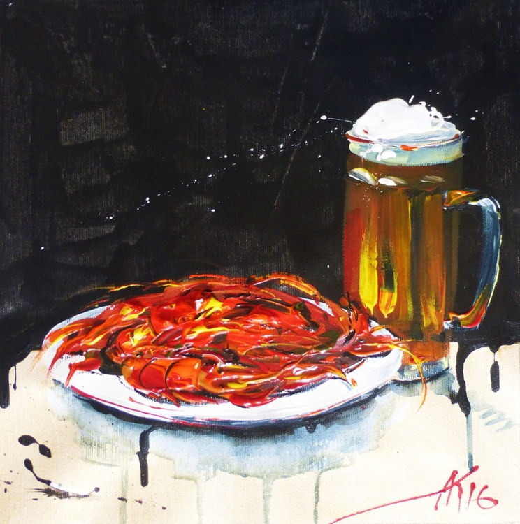 Beer with crayfish, original acrylic painting 30x30 cm, ready to hang! - Image 0