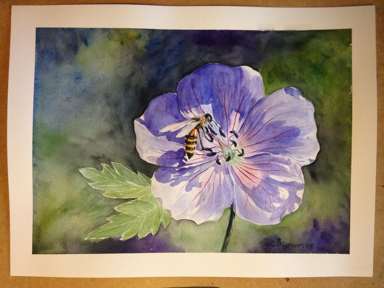 One of a kind original watercolor artwork - A flower and a bee - Image 0